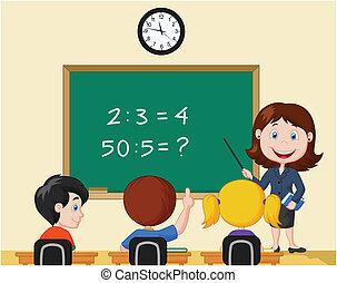 blackbo, cartone animato, indicare, insegnante