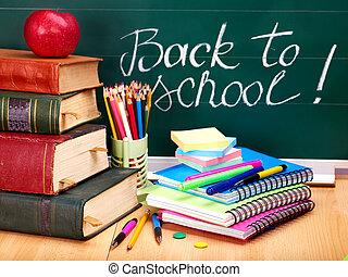 blackboard., libri scuola, supplies.