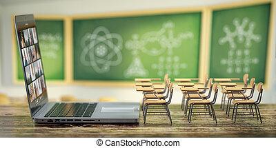 blackdesk, aula, learning., e-imparando, quarantena, casa, linea, concept., laptop, distanza, scrivante, educazione, fondo., scuola