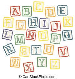 blocchi, alfabeto, vettore, eps8, collection., bambino
