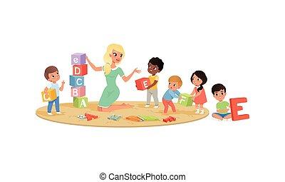 blocchi, bambini, illustrazione, asilo, alfabeto, poco, gioco, vettore