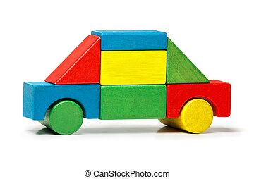 blocchi giocattolo, automobile, legno, sopra, multicolor, fondo, bianco, trasporto