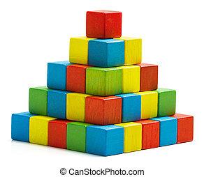 blocchi giocattolo, piramide, isolato, legno, multicolor, pila, mattoni