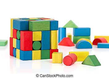blocchi giocattolo, puzzle, pezzi jigsaw, multicolor, fondo, cubo bianco, sopra