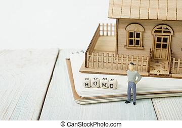 blocchi, legno, casa, ortografia, parola
