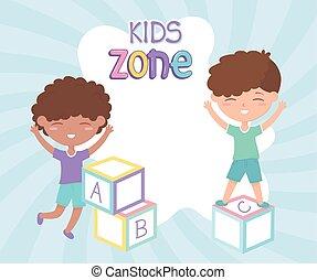 blocchi, ragazzi, giocattoli, zona, bambini, gioco, carino, alfabeto, poco