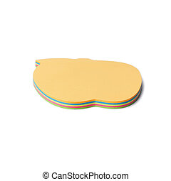 blocco, pila, isolato, oggetto, fondo., vista., nota carta, top., colorato, lato, bianco, arancia, appiccicoso, adesivi, note.