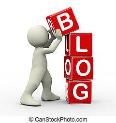 blog, cubi, collocazione, 3d, uomo