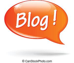 blog, discorso, vettore, bolla