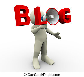 blog, megafono, 3d, uomo