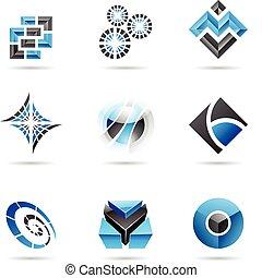 blu, 13, set, astratto, nero, icona