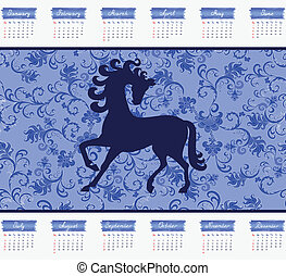 blu, 2014, cavallo, calendario, fondo