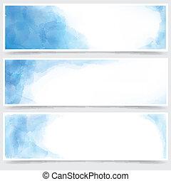 blu, acquarello, astratto, banners.