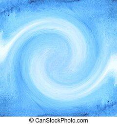 blu, acquarello, astratto, fondo, onde