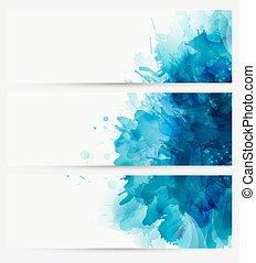 blu, acquarello, blot.