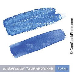 blu, acquarello, colpi, spazzola