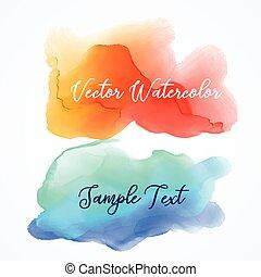 blu, acquarello, fondo, inchiostro, arancia, macchia