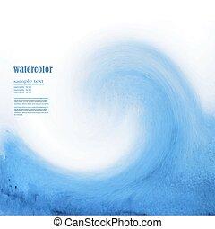 blu, acquarello, fondo, mare, onda