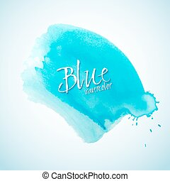 blu, acquarello, schizzo, disegnare elemento