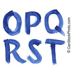 blu, acquarello, scritto mano, alfabeto