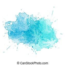 blu, acquarello, vettore, splatters.