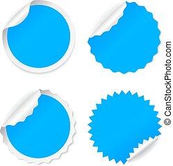 blu, adesivo, vettore, rotondo
