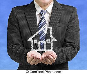 blu, affari, apertura, casa, cielo, forma, palma, fondo, nuvola, uomo