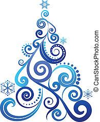 blu, albero, natale