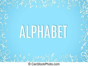 blu, alfabeto, astratto, ornamento, isolato, fondo, bianco, cornice