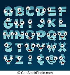 blu, alfabeto, cartone animato