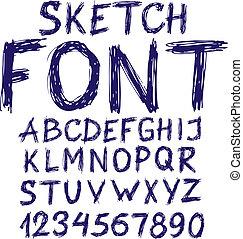 blu, alfabeto, schizzo, scritto mano