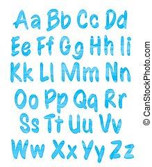 blu, alfabeto, set, acquarello, modello