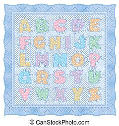 blu, alfabeto, trapunta, pastello