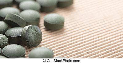 blu, algae., naturale, spirulina, sopra, dettaglio, fondo., verde, artisanal, tavolette