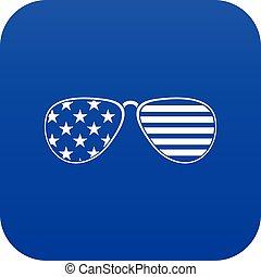 blu, americano, digitale, occhiali, icona