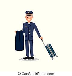 blu, appartamento, civile, lavoratore, giovane, isolato, giacca, cap., vettore, aviation., presa a terra, completo, disegno, suitcase., capitano, pilota