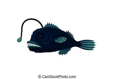 blu, appartamento, creature., subacqueo, fish, vita, vettore, anglerfish., mare, affilato, piccolo, animal., marino, teeth., icona