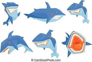 blu, appartamento, set, back., mobile, pesce marino, denti, vettore, o, grande, gioco, elementi, grande, affilato, adesivi, shark., pinna