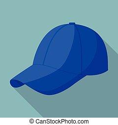 blu, appartamento, stile, berretto, baseball, icona