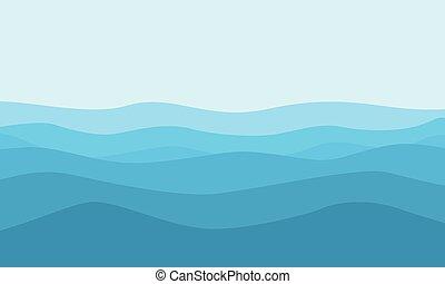 blu, appartamento, vettore, collina, fondo, paesaggio