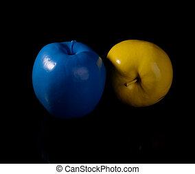 blu, apple., mela, giallo