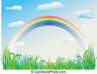 blu, arcobaleno, cielo, fondo