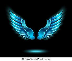 blu, ardendo, ali, angelo