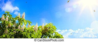blu, arte, primavera, astratto, cielo, fondo, fiori