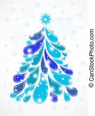 blu, astratto, albero., natale, vettore