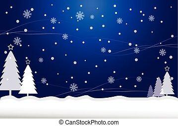 blu, astratto, albero, neve, pino, fondo