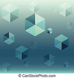 blu, astratto, esagono, fondo