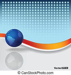 blu, astratto, globo, fondo