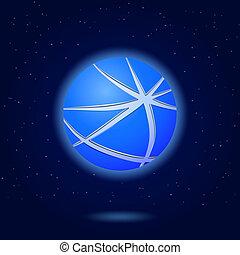 blu, astratto, globo, icona