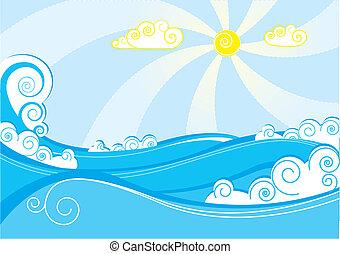 blu, astratto, illustrazione, vettore, mare, bianco, waves.